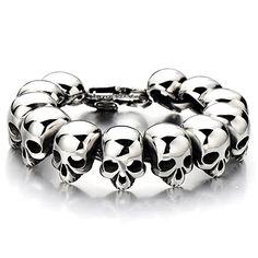 Mens Stainless Steel Large Skull Link Bracelet Biker Gothic Style Silver Color Polished
