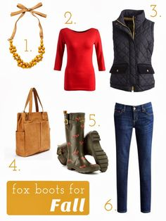 Feeling Foxy - Fall outfit centered around fox rain boots.