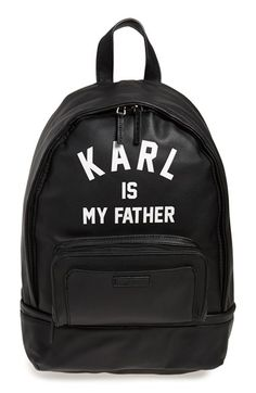 ELEVENPARIS 'Karl is My Father' Faux-Leather Backpack with Rain Cover available at #Nordstrom