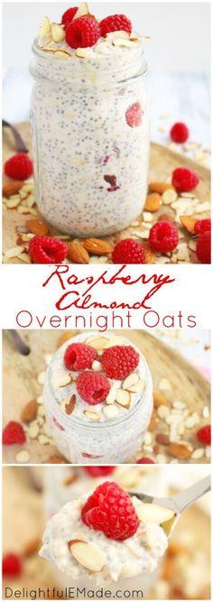 overnight oats / raspberry oats / healthy breakfast / quick breakfast / easy recipe / raspberry almond overnight oats / oatmeal / chia seeds via @tastesoflizzyt