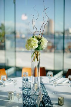 nautical wedding + table centerpiece + hydrangeas