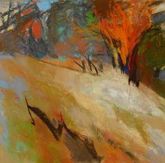"Casey Klahn: Slope with Light Splash  9"" x 9"" Pastel & Charcoal"