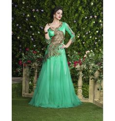 Wonderful Designer Swagat Party Wear Gown In C Green Color