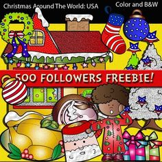 ♪♪500 Followers freebie♪♪  THANK YOU to my 500 FABULOUS FOLLOWERS!!!!  *Thanks to all of you for your support and for each and every comment!*  Christmas Around The World USA Clip Art set features:  ► 14 clip arts in both color. ► 11 clip arts, black & white.