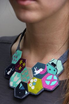 Mochi Necklace: Paper Pieced Hexagons | Fun fabric jewelry tutorial - great way to try EPP
