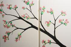 Button tree: canvas   takken van verf   bladeren van knopen = klaar!