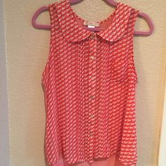 Free People Peter Pan Collar Button Up Blouse Free People Peter Pan Collar Button Up sleeveless blouse with pintuck details! Beautiful top in clementine orange and off white.  Size Medium. Reposh in perfect condition! Just a little big on me. Free People Tops Button Down Shirts