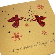 Handmade Red and Gold Christmas Card - Angels - 'Merry Christmas and a Happy New Year' http://www.thehandcraftedcardcompany.co.uk/cardcrafts/7468-winter-glitter-christmas-cards.asp?refid=9142