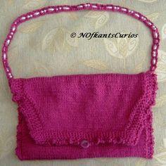 Fuchsia Frill! Hand Knitted & Crocheted Handbag with Bead strap £14.00