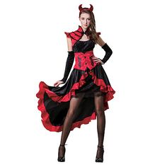 Embrace your scarier parts this Halloween when you dress up in this Devil Costume! Every girl has a little devil in her! Featuring a black and re. Devil Halloween Costumes, Devil Costume, Halloween Scene, Girl Costumes, Costumes For Women, Halloween Art, Costume Ideas, Get Dressed, Cute Girls