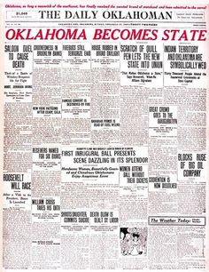 Oklahoma Becomes State: The Daily Oklahoman front page on Nov. 17, 1907.