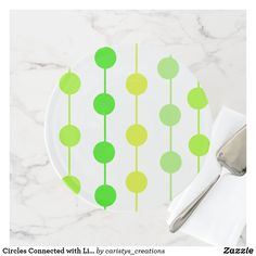 Circles Connected with Lines Yellow and Greens Cake Stand Green Cake, Party Plates, Kitchen Dishes, Fancy Cakes, Party Accessories, Artwork Design, Custom Cakes, Let Them Eat Cake, It's Your Birthday
