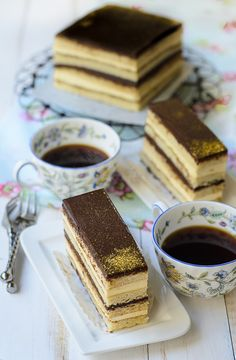 Opera cake is a French most loved dessert. Opera cake consists of layers of almond sponge soaked in coffee syrup, chocolate buttercream, chocolate ganache and chocolate glaze. Its tedious but worth every time invested in baking one Sweet Recipes, Cake Recipes, Dessert Recipes, French Opera Cake Recipe, Paleo Dessert, Vegan Desserts, Longest Recipe, French Chocolate, Types Of Desserts