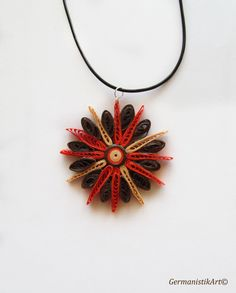 Geometric Quilling Pendant in Warm Colors by GermanistikArt, $20.00