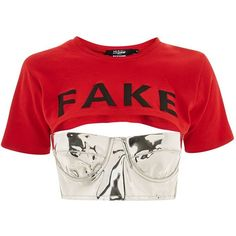 'Fake' Slogan Crop T-Shirt by Jaded London ($59) ❤ liked on Polyvore featuring tops, t-shirts and red