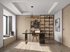 创享视觉-卧室、书房案例|空间|室内设计|创享表现 - 原创作品 - 站酷 (ZCOOL) Office Furniture, Bedroom Furniture, Luxury Interior, Interior Design, Home Studio, Pent House, Home Office Design, Working Area, Contemporary
