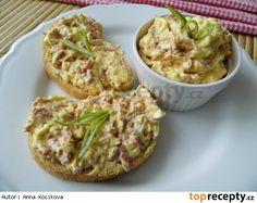Sýrová pomazánka s uzeninou,vejci a bílou ředkví Guacamole, Pesto, Baked Potato, Ham, Potato Salad, Eggs, Vegetables, Breakfast, Ethnic Recipes