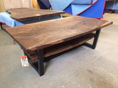 Beautiful Black Walnut coffee table with steel base built for a client.