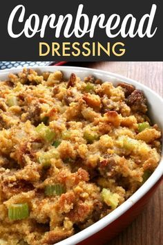 Southern Cornbread Dressing with Sausage! This is a super easy recipe made extra special with sausage crumbles (optional) and cornbread. A super easy Southern dressing (or stuffing) recipe made extra special with sausage and cornbread. Cornbread Dressing With Sausage, Homemade Cornbread Dressing, Southern Cornbread Dressing, Best Cornbread Stuffing Recipe, Jiffy Cornbread Recipes, Stuffing Recipes For Thanksgiving, Thanksgiving Side Dishes, Christmas Recipes, Holiday Recipes