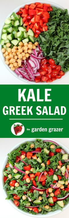 Loaded Kale Greek Salad with only 9 ingredients and a garbanzo bean protein punch! Super fresh and healthy. Vegan Lunch Recipes, Salad Recipes, Healthy Recipes, Easy Recipes, Healthy Salads, Healthy Eating, Greek Salad, Greek Recipes, Soup And Salad