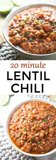This simple and delicious lentil chili is ready to devour in 20 short minutes. Make it your own by topping with your favorite cheese, low fat sour cream and herbs! Lentil Chili Recipe, Vegan Chili, Chili Recipes, Soup Recipes, Lentil Soup, Recipies, Lentil Dishes, Chili Chili, Lentil Salad
