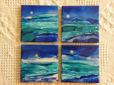 "Items similar to Hand Painted Alcohol Ink Coasters - 4 x 4 Ceramic Tile - ""Blue Landscape""- set of 4 Coasters- Alcohol Inks on Etsy Alcohol Ink Tiles, Alcohol Ink Crafts, Alcohol Ink Painting, Ceramic Tile Crafts, Sharpie Art, Sharpies, Tile Coasters, Tile Art, Copics"