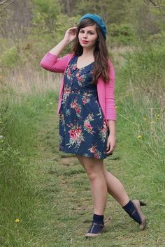 Flowered dress and cardigans... favorite combo!