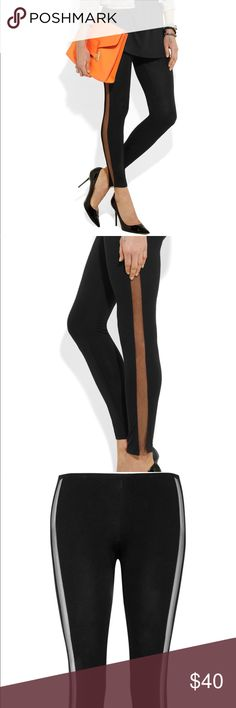 TNtees tata naka leggings with net sides Black leggings with net panel sides. Size 10 but runs very small. More like a US 6. Brand new with tags. Sold out everywhere. Very sleek and flattering and easy to dress up or down. tata naka TNtees Pants Leggings