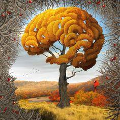 Optical Illusion Head with Orange Tree by Igor Morski. Autumn.