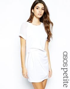 Image 1 ofASOS PETITE Exclusive T-Shirt Dress with Sheer Sleeve and Tuck Detail