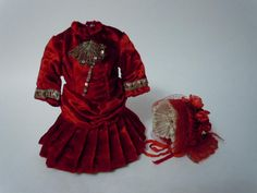 Gorgeous deep red velvet tiny french Bebe Dress Hat for antique Bleuette sized bisque doll