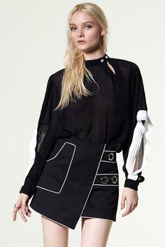 test sleeve name Discover the latest fashion trends online at storets.com #denim coat   #Color Block Denim Pants  #denim coat