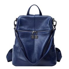 BOYATU Convertible Genuine Leather Backpack Purse for Women Fashion Travel Bag Leather Backpack Purse, Leather Purses, Travel Bag, Travel Style, Fashion Bags, Fashion Backpack, Fashion Dresses, Blue Bags, Large Bags