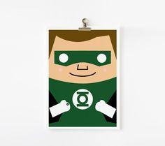 Super Hero Justice League art print 5 x 7 set of 6. $42.00, via Etsy.