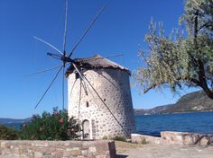 Old windmill on the road to Plomari in Lesvos