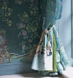Beautiful De Gournay hand painted Chinoiserie silk wallpaper panels. ~Jardinieres & Citrus Trees on custom blue.