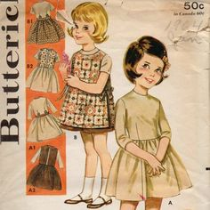 Butterick 2727 Girls Dress Pinafore and Sleeveless Cardigan Jacket Childs Vintage Sewing Pattern | PatternGate - Craft Supplies on ArtFire