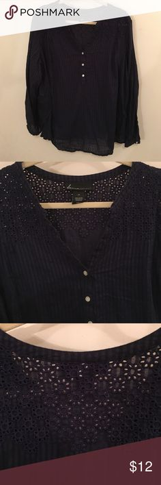 Lane Bryant size 24 navy blouse with floral work Lane Bryant size 24 navy blouse with floral design cutout/crochet.  Sleeves can also be buttoned up.  Shirt also has a vertical stripe pattern.  Worn only one time and is in excellent condition.  100% cotton.  Comes from a pet free and smoke free home.  Bundle and save! Lane Bryant Tops Blouses