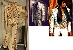 The Amber suit have a very few photographs of Elvis wearing it This suit was worn during the 1973 August/September Las Vegas engagement, but it's possible that it could have been worn already during the May '73 Tahoe stand . The suit is in display at Graceland today.