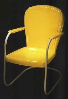 Besides power tools and trucks, Schreckengost designed this American icon. Lawn Furniture, Funky Furniture, Furniture Decor, Outdoor Furniture, Metal Lawn Chairs, Porch Chairs, Vintage Metal Glider, Tulip Chair, Love Chair