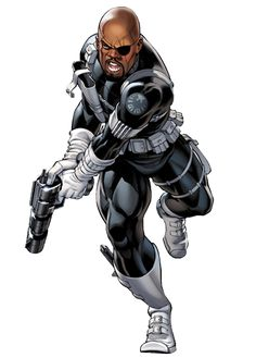 Nick fury 29 (idk his age) leader of shield can use all weapons his a scientist and tech expert a great leader he will always be there for you he has one eye so he has an eye patch