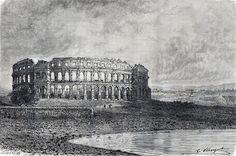 Antique print The Arena in Pula  Croatia  1875 Pola