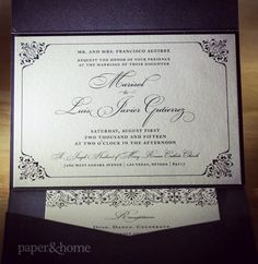 Shimmer pocket wedding invitations for Marisol & Luis married at St. Joseph Husband of Mary Roman Catholic Church. Reception at @orleanscasino.