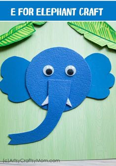 E for Elephant Craft with Printable Template E for Elephant Craft would be a great supplement to your Letter of the week curriculum, letter E, wild animals, mammals theme or if you have a Safari theme birthday party. Jungle Crafts, Elephant Crafts, Animal Crafts For Kids, Toddler Crafts, Preschool Crafts, Art For Kids, Safari Animal Crafts, Letter E Craft, Alphabet Crafts