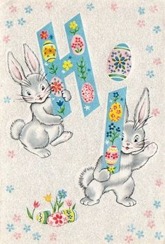 A cute and cheerful vintage Easter greeting. #bunnies #vintage #Easter