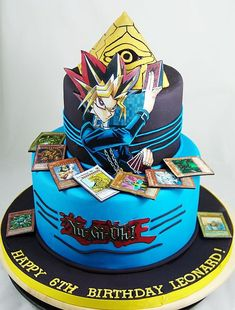 Yu-Gi-Oh! told through the eyes of a Watapon. Happy 6th Birthday, 10th Birthday Parties, Themed Birthday Cakes, Boy Birthday, Anime Cake, Yugi, Character Cakes, Cake Images, Cakes For Boys