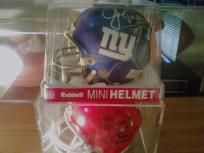 Joe Morris NY Giants & SU College( Inscribed All time rushing leader) NFL Mini Helmets Signed