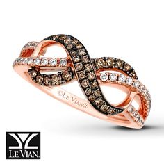 An infinity symbol decorated in round Chocolate Diamonds® intertwines with round Vanilla Diamonds® in this scrumptious ring for her from Le Vian®. The ring is crafted of 14K Strawberry Gold. My 50th bday present from hubbie! !!!!!