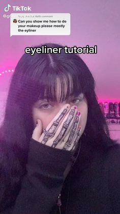 Punk Makeup, Gothic Makeup, Grunge Makeup, Eye Makeup, Cute Makeup Looks, Pretty Makeup, Eyeliner Tutorial, Kawaii Makeup Tutorial, Maquillage On Fleek