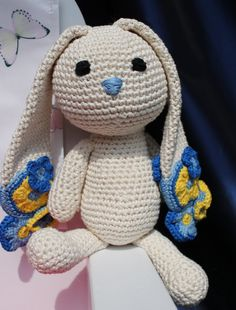 Crochet amigurumi bunny in pretty blue and yellow for baby boy / stuffed animal Flower door BoxOfBeasts